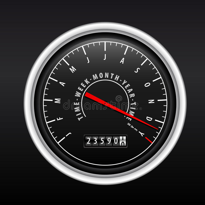 New Year Speedometer on black stock photography
