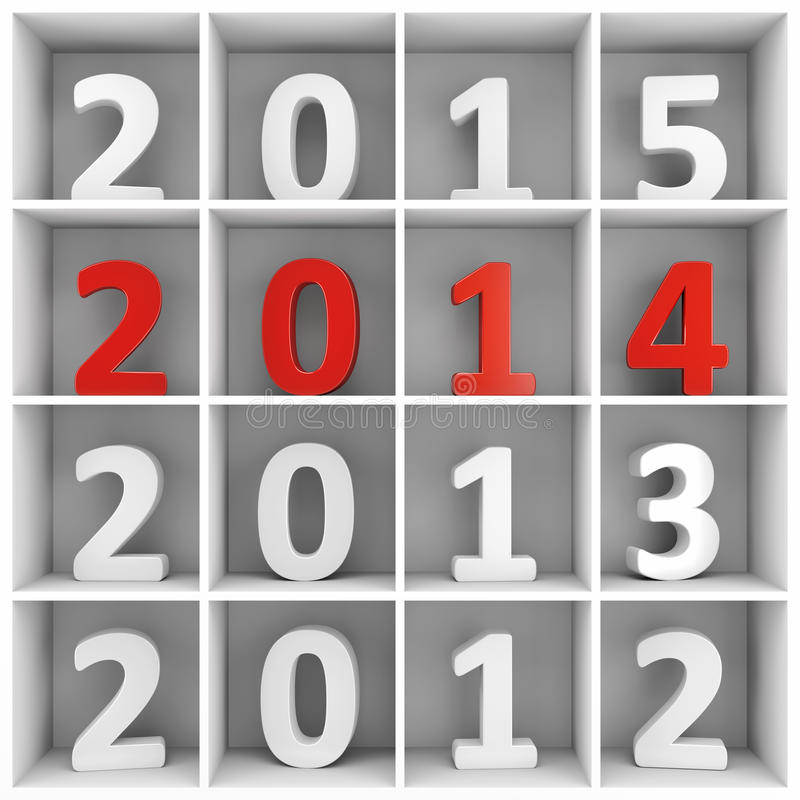 Download 2014 New Year Square Shelf With Numbers Stock Illustration - Image: 35091255