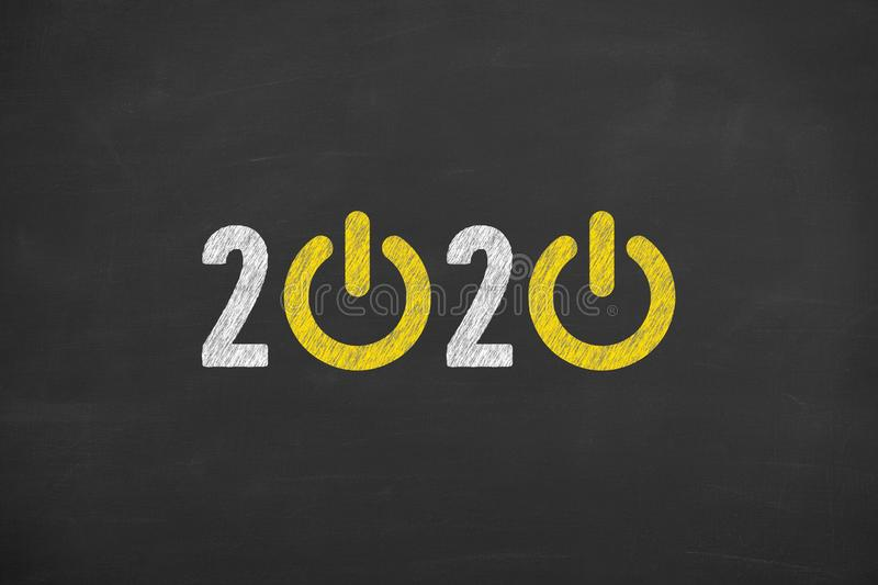 New Year 2020 Start Up Concepts on Blackboard Background. New year concepts stock photography