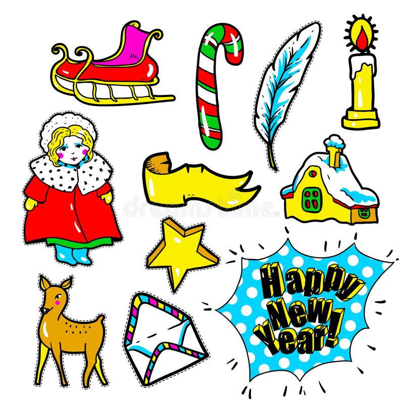 New Year stickers, pins, patches in cartoon 80s-90s comic style stock illustration