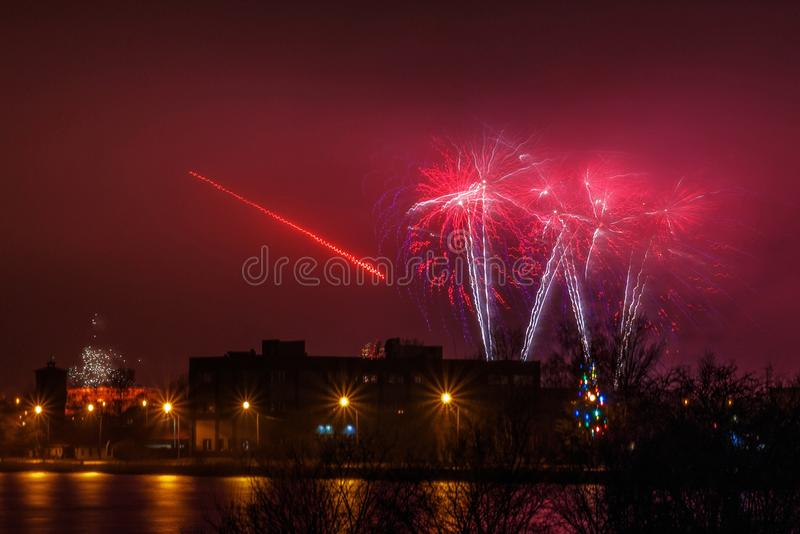 The new year fireworks shoot royalty free stock images