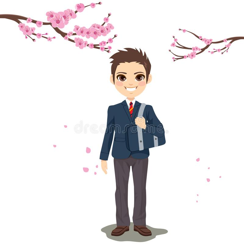 New Year Student Boy Uniform stock illustration