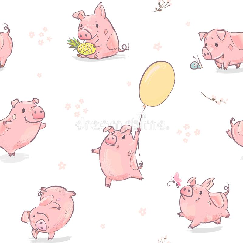 2019 New Year Symbol Dance Pink Pig with Pineapple vector illustration