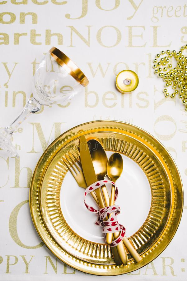 New year table setting stock photos