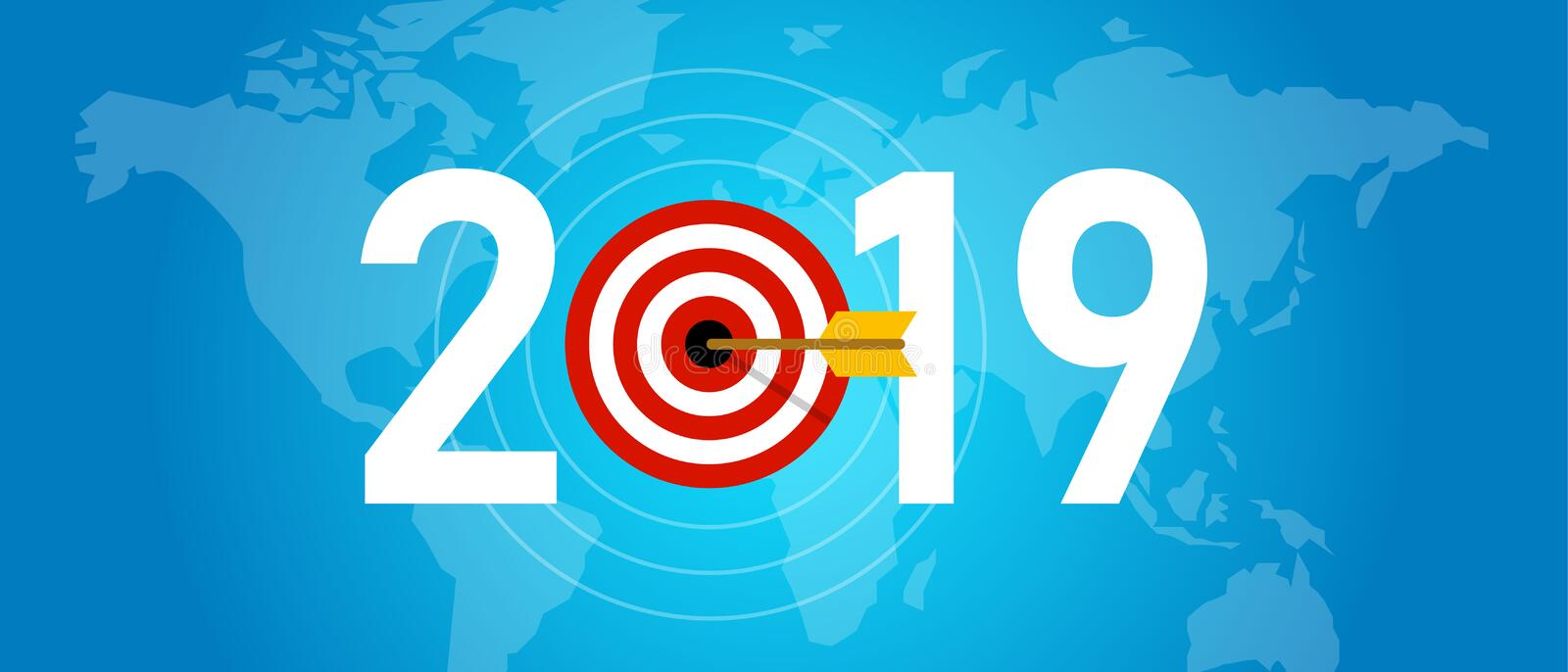 2019 new year target syombol of dart aiming for online media targeting and marketing strategy, blue background world royalty free illustration