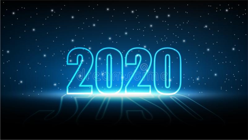 New year 2020 with Technology abstract futuristic background, MIracle star of Hi-tech digital and engineering vector illustration