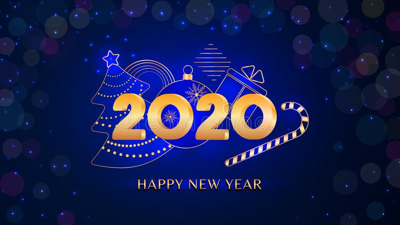 2020 New year text design with 3D golden numbers Christmas tree, ball, gift box, candy cane on New Year dark blue bokeh background vector illustration