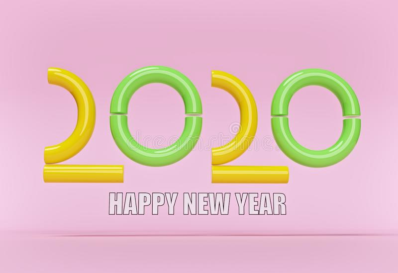 New year 2020 text. minimal concept with abstract tubes. 3d rendering stock illustration