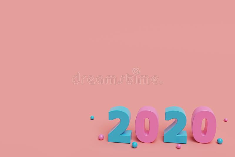 2020 text minimal Design. 3d rendering stock illustration