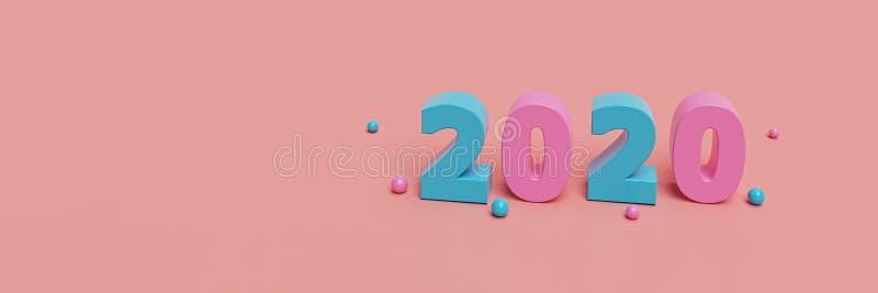 New Year 2020 horizontal banner. 3d rendering stock illustration