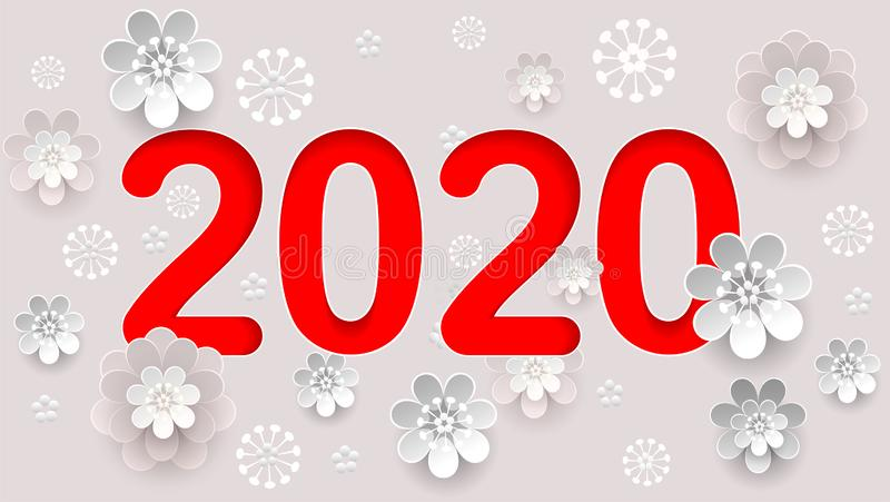 2020 new year text number calendar. Abstract flower composition stock photo