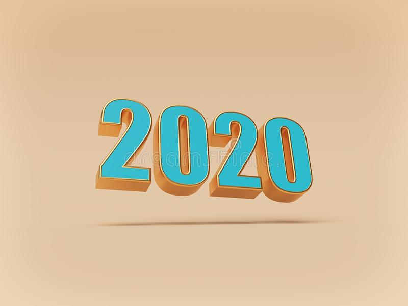 2020 New Year text simple concept. calendar background. 3d rendering vector illustration