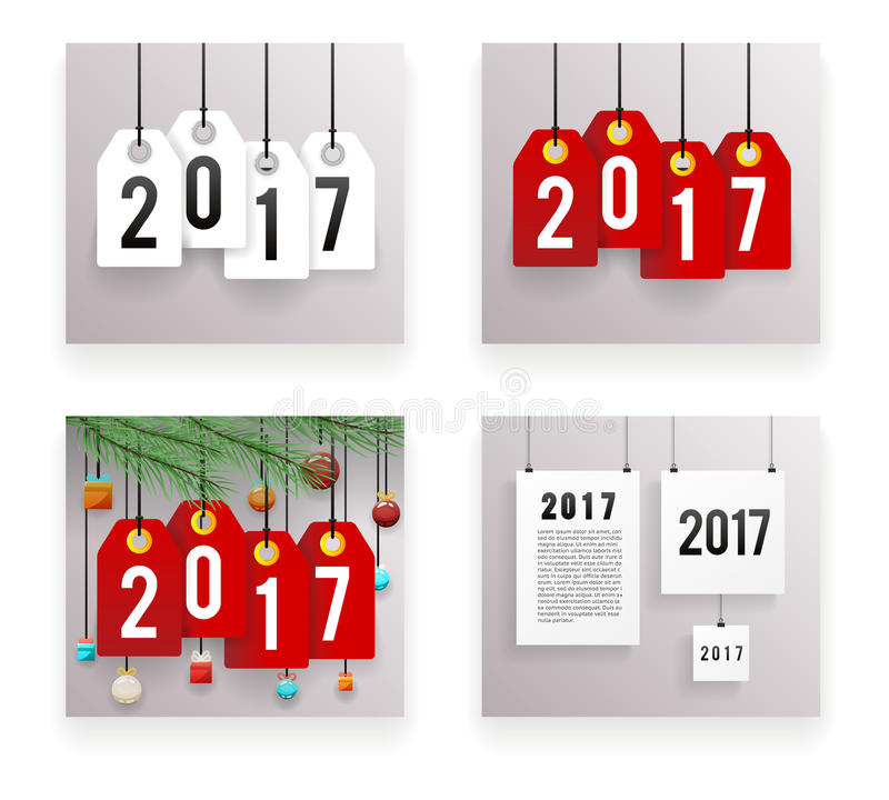 New Year Text Symbol Paper Labels Set Template Vector Illustration stock illustration
