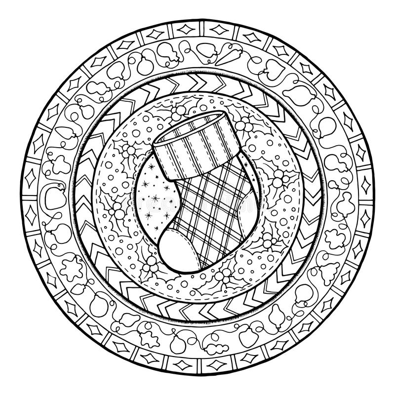 New Year theme. Doodle Christmas sock on ethnic circle ornament. Hand drawn art winter mandala. Black and white ethnic background. Zentangle pattern for royalty free illustration