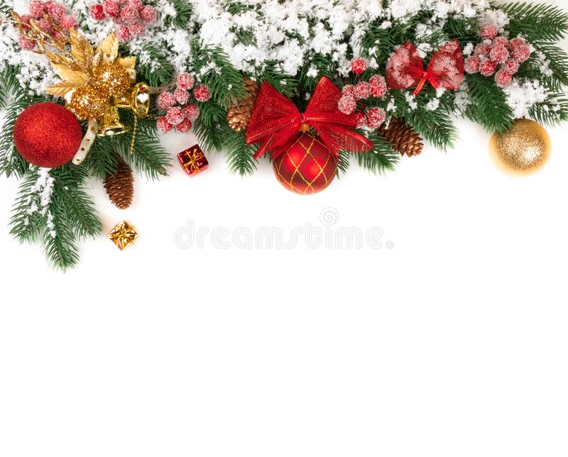 New year theme for the site spruce branches decoration snow stock photos