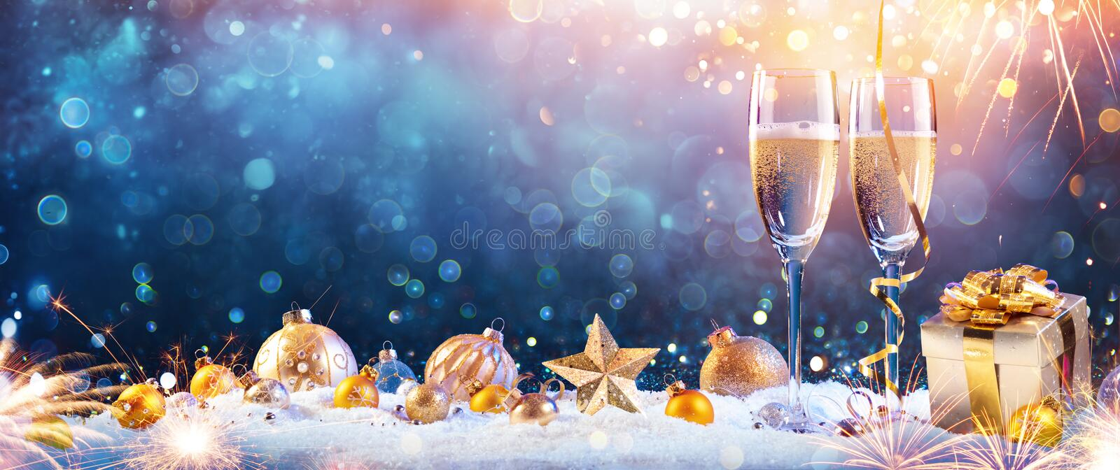 New Year Toast Champagne Flutes royalty free stock images