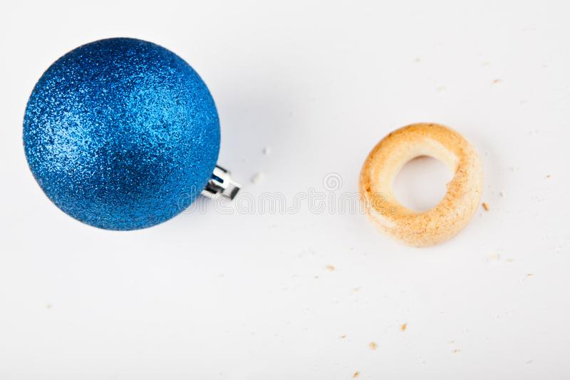 New year toy ball Baranka cookies white background nobody. Studio stock images