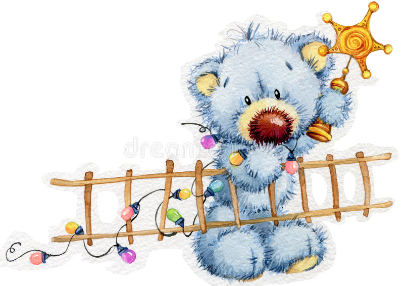 Download New Year Toy Bear.Christmas Background. Watercolor Illustration Stock Illustration - Illustration of little, background: 57962742