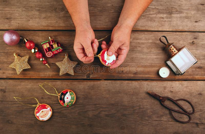 New year toys man hands royalty free stock image