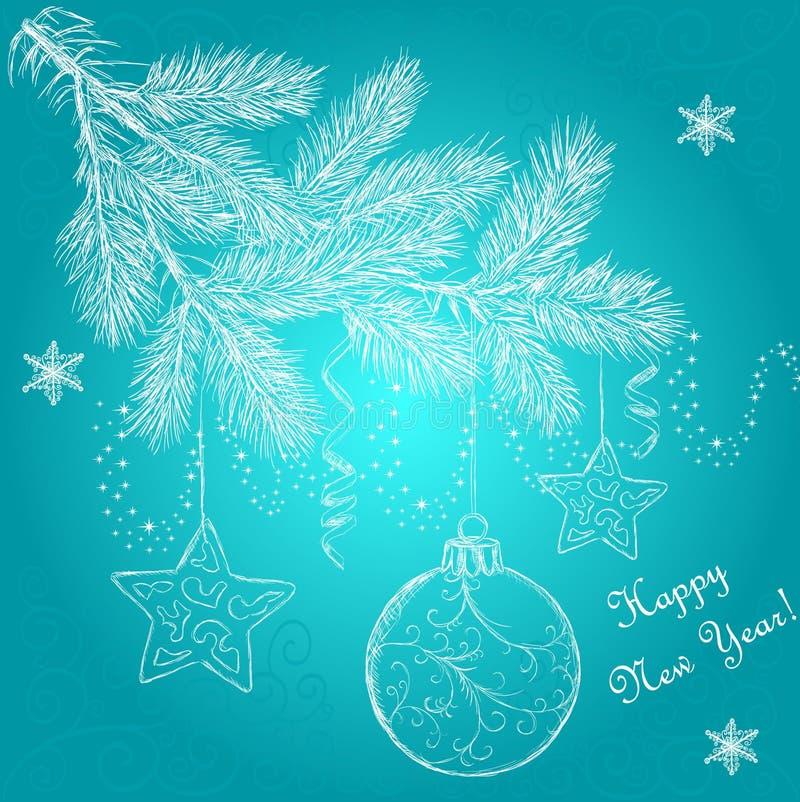 New Year tree Ð¡hristmas ball stars snowflakes royalty free stock photography