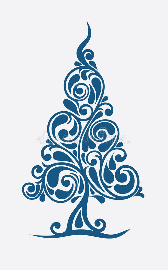 New Year tree. Christmas tree in decorative execution stock illustration