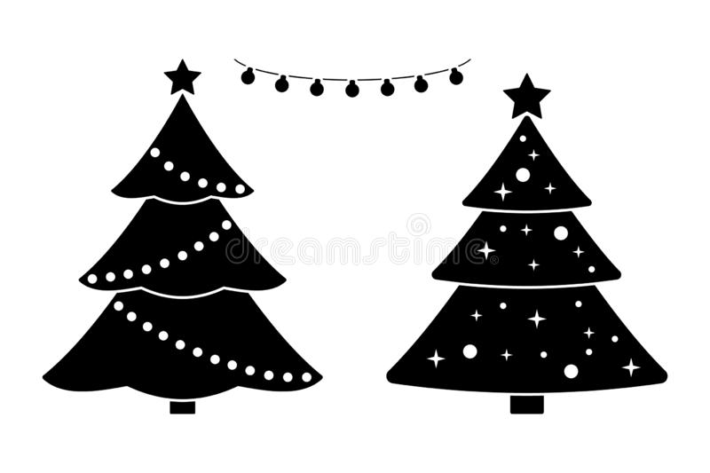 New Year tree black and white vector icon pictogram set. Marry Christmas decoration elements design simple flat style. stock illustration