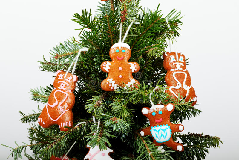 The New Year tree and hand-made cookies royalty free stock images