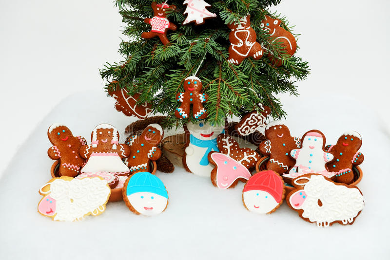 The New Year tree and hand-made cookies stock photo