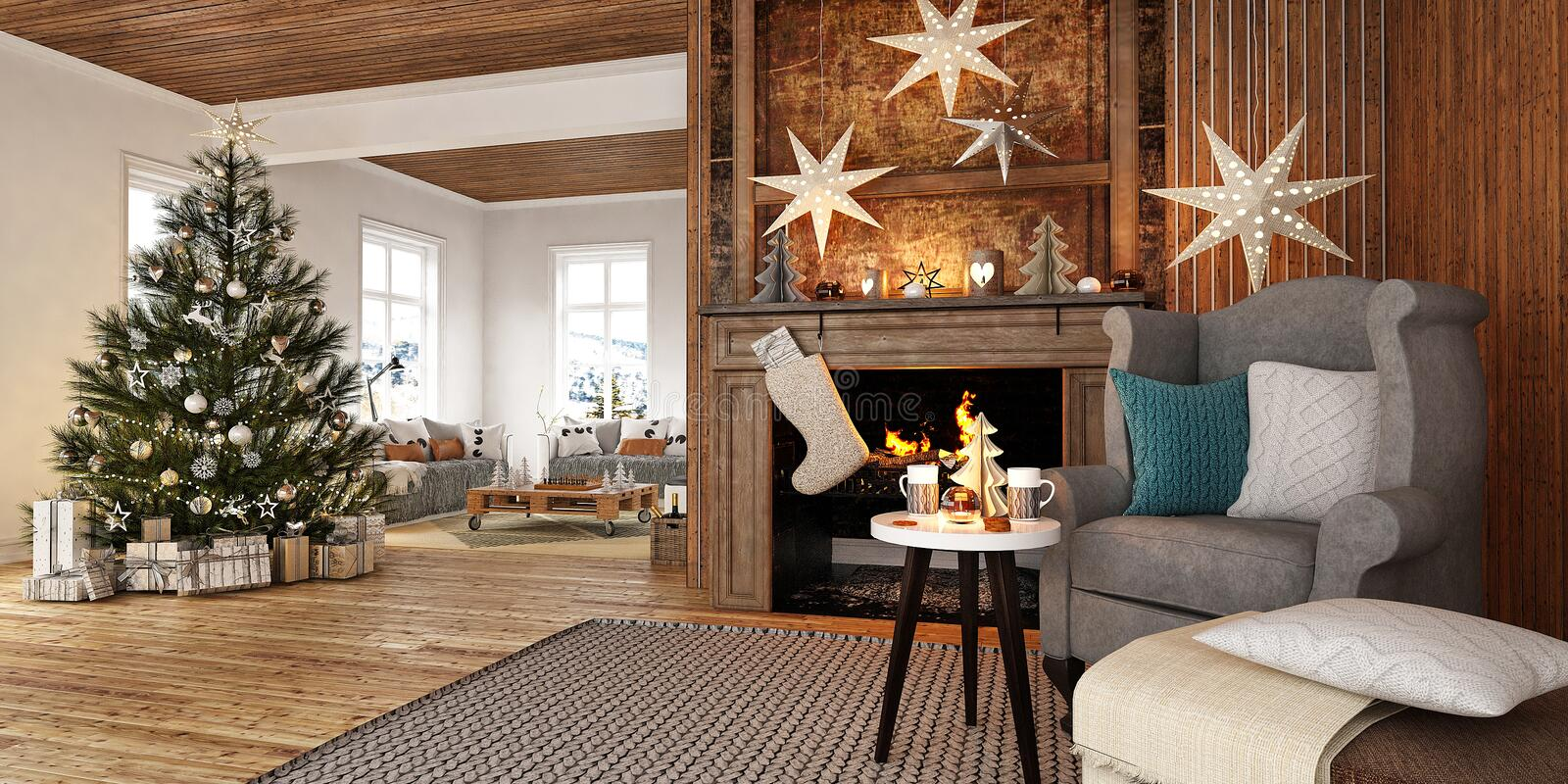 New year tree in scandinavian style interior with christmas decoration and fireplace stock images