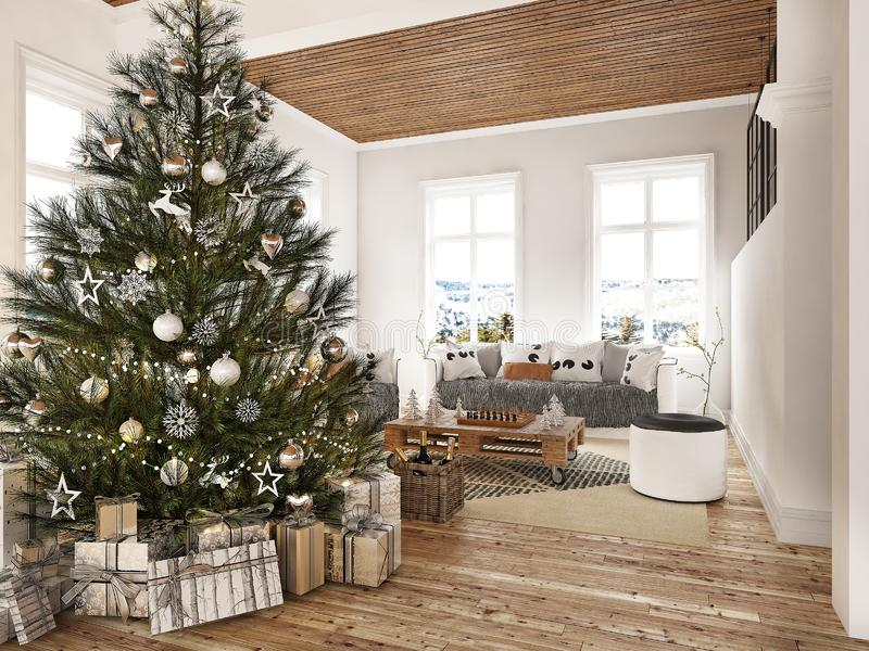 New year tree in scandinavian style interior with christmas decoration and fireplace royalty free stock images