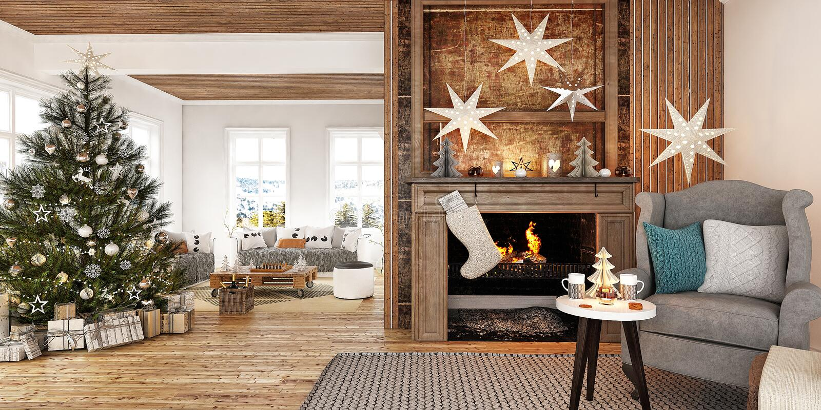 New year tree in scandinavian style interior with christmas decoration and fireplace stock photos