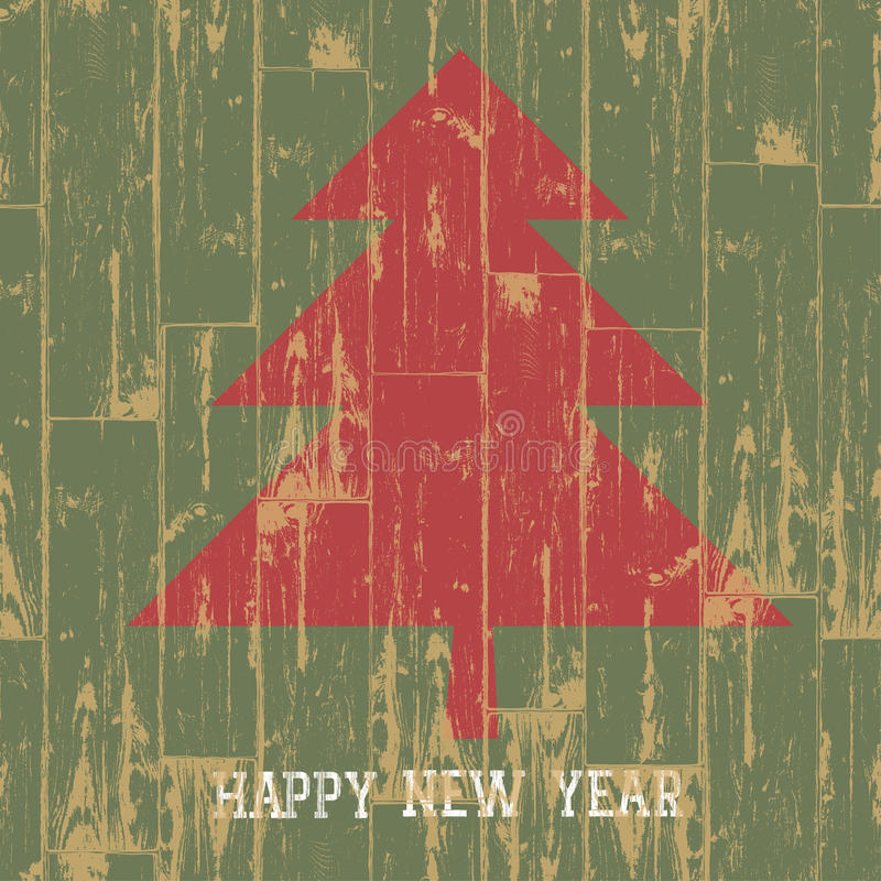 New year tree symbol with greetings on wooden plan stock illustration