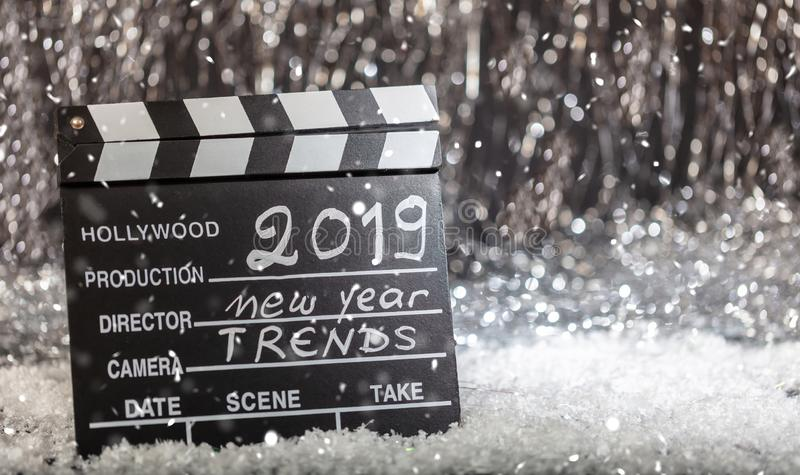 2019, new year trends on movie clapper stock photos
