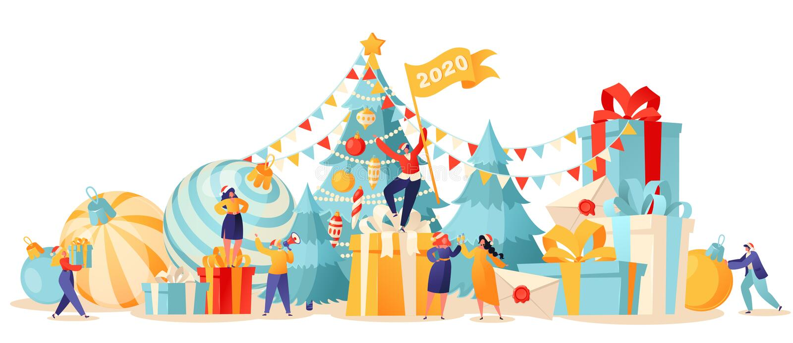 New Year trendy card. Background with small flat cartoon people characters that preparing for holiday. vector illustration