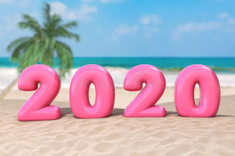New Year Vacation Concept. Pink 2020 Happy New Year Sign on an Ocean Deserted Coast. 3d Rendering royalty free stock image