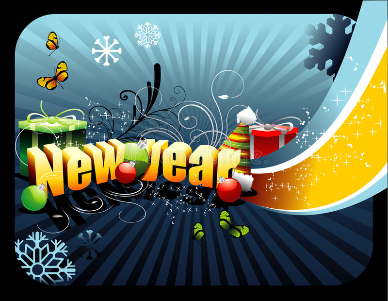 New year vector. Illustration over a blue background royalty free illustration