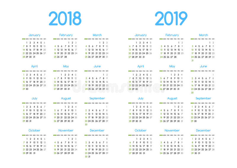 New year 2018 and 2019 vector calendar modern simple design vector illustration