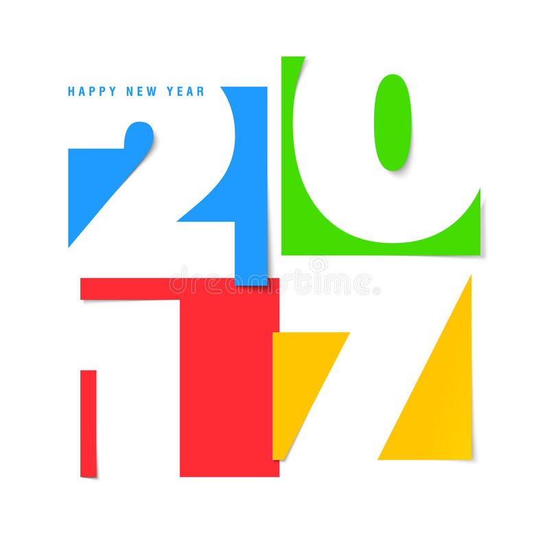 New year vector card. Happy new year 2017 vector design template royalty free illustration