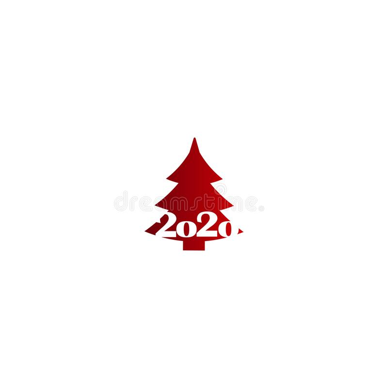 New Year tree - flat design vector icons. Holiday icon. Happy new year 2020 vector illustration