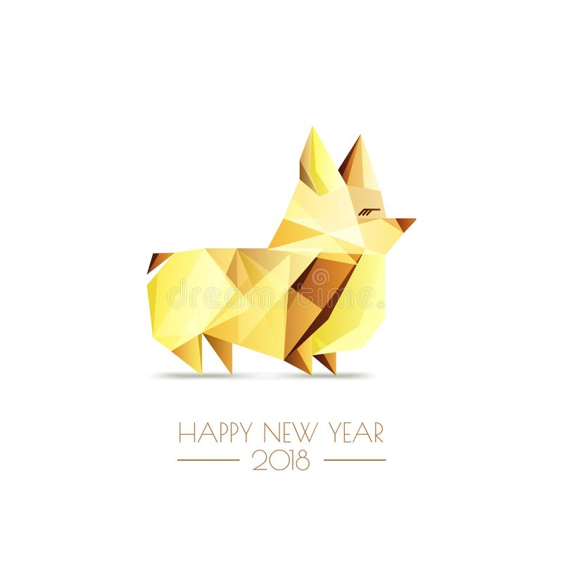New Year 2018. Vector greeting card, poster, banner with golden luxury low poly dog symbol. Gold welsh corgi pembroke. Happy Chinese New Year 2018. Vector royalty free illustration