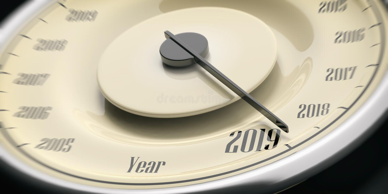 2019 new year. Vintage car speedometer gauge closeup detail on black background. 3d illustration royalty free stock photo