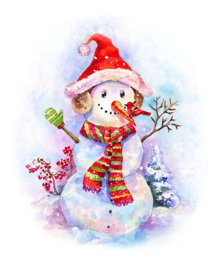 New year watercolor. Funny snowman in Christmas hat and red-green striped scarf on snow background. New year postcard. Watercolor snowman with red winter bird on royalty free illustration