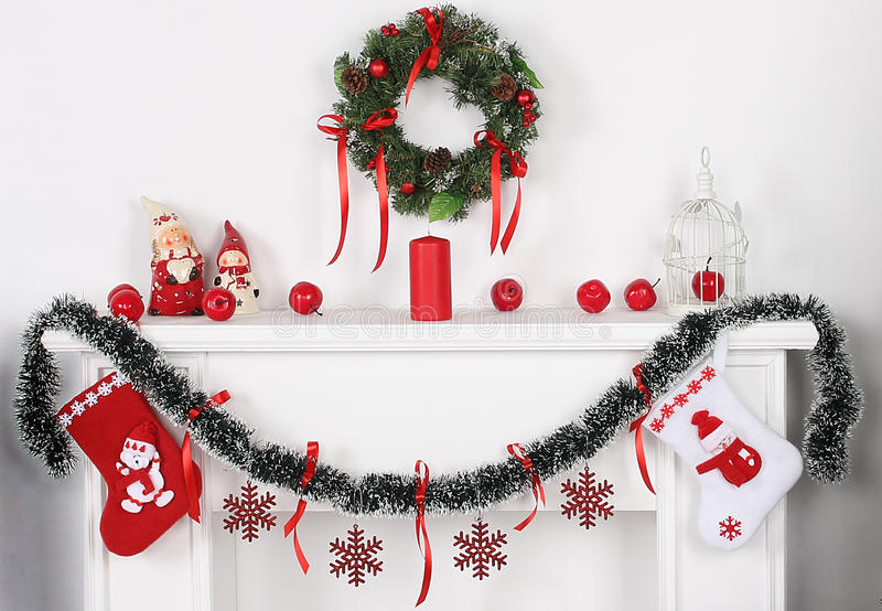 New year and the white fireplace stock images