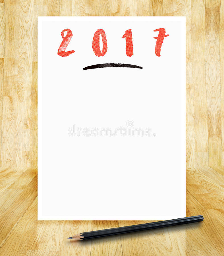 2017 new year on white paper frame with pencil in hand brush sty royalty free stock images