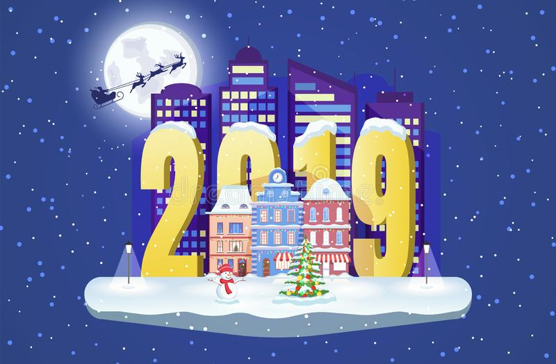 New year 2019. Winter cityscape with a snowman and Christmas fir tree. Vector town illustration. royalty free illustration