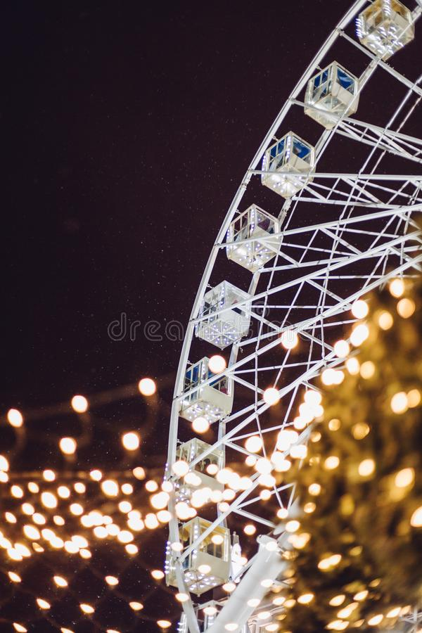New year winter 2018 Ferris wheel Kiev Ukraine royalty free stock photography
