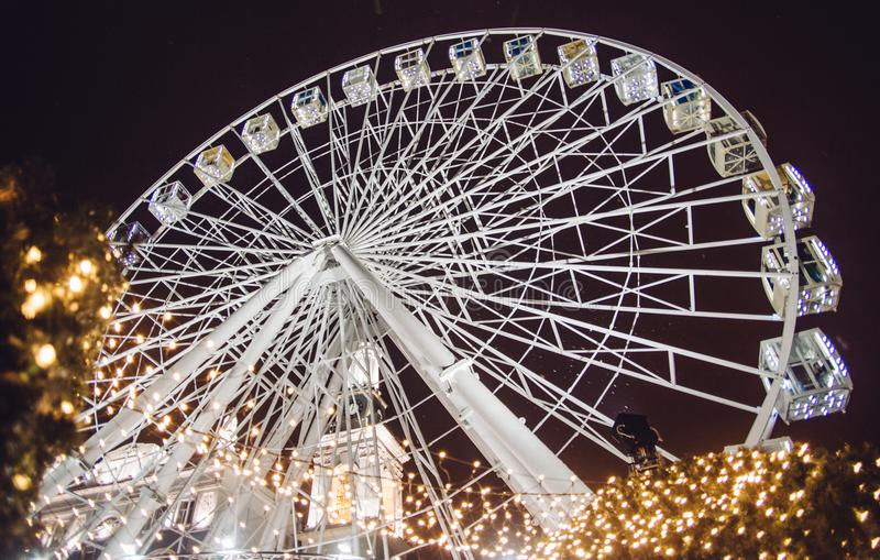 New year winter 2018 Ferris wheel Kiev Ukraine. Shooting, photo, photography, new year winter Ferris wheel Kiev Ukraine 2018 snow white stock photo