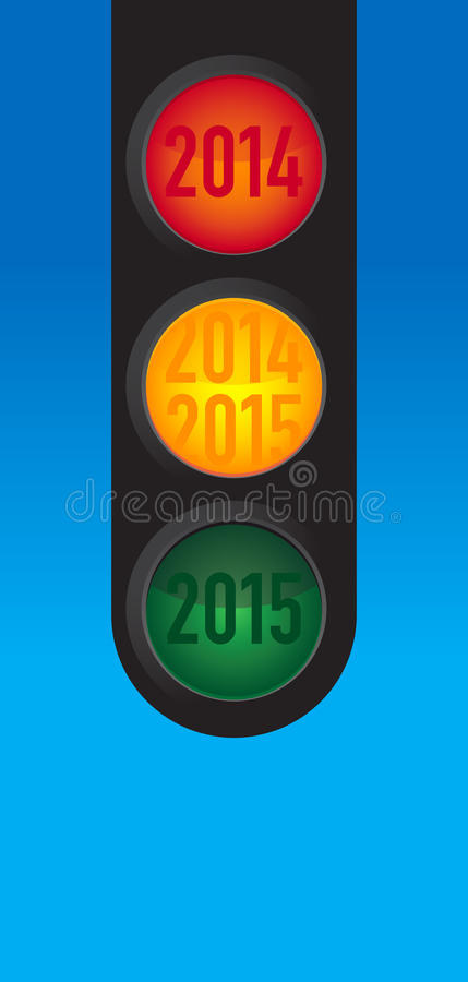 New Year wishes to the traffic light stock photo