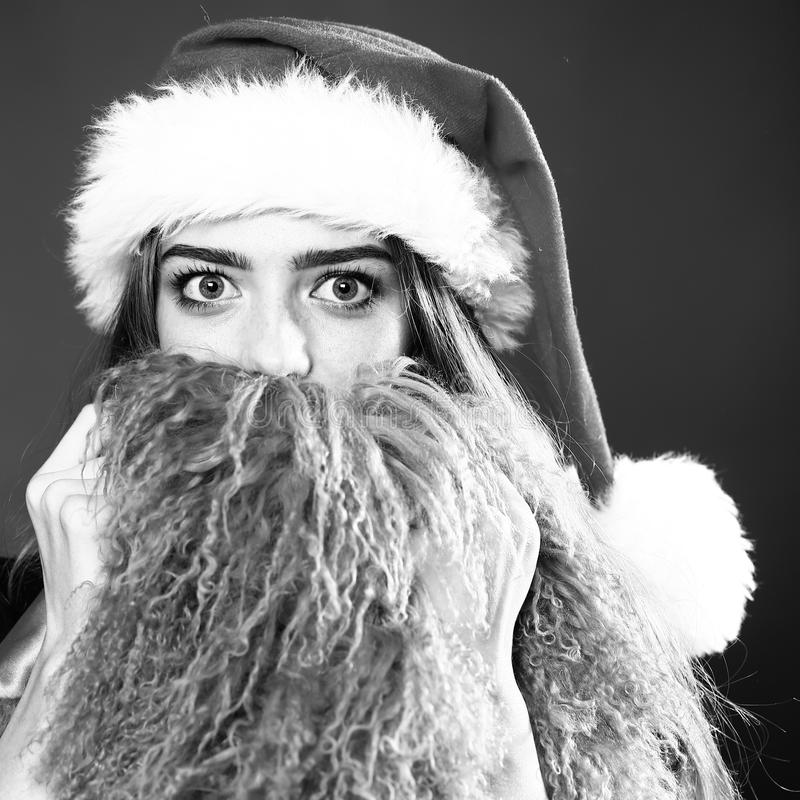 Happy Pretty Young Woman With White Beard Stock Photo