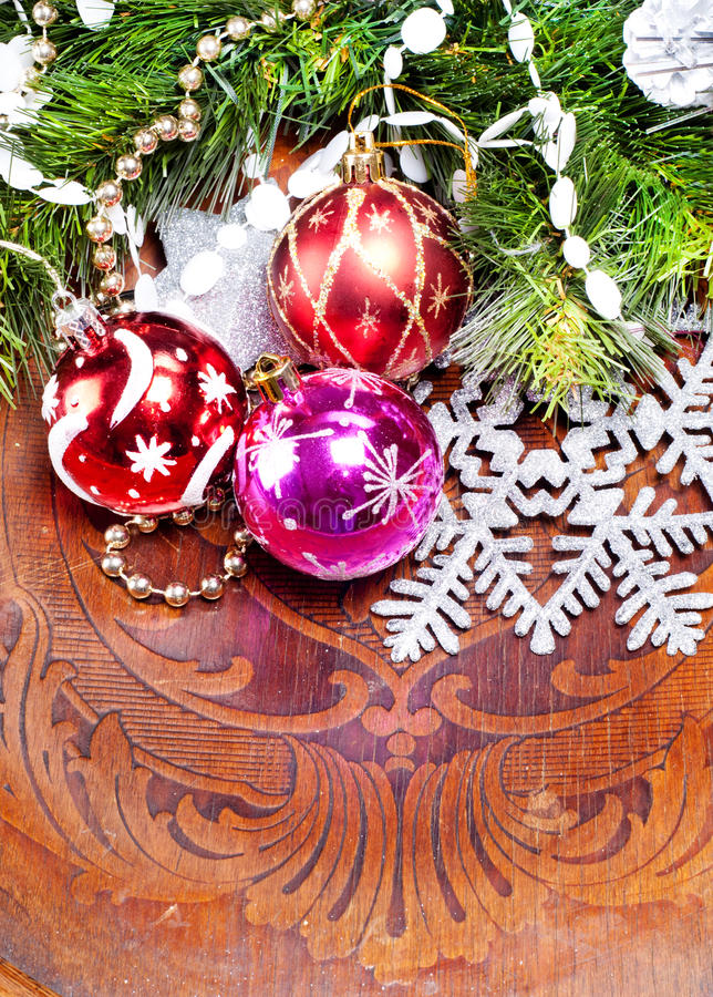 Download New Year Wood Background With Beautiful Decorations Royalty Free Stock Photo - Image: 27994815